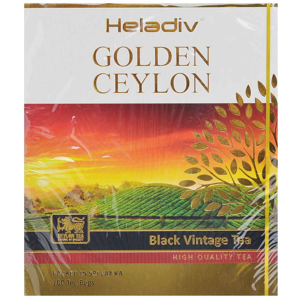 Heladiv Golden Ceylon Vintage Black черный пакетированный чай, 100 пакетиков0120710Heladiv Golden Ceylon Vintage Black - черный цейлонский чай в пакетиках для разовой заварки.