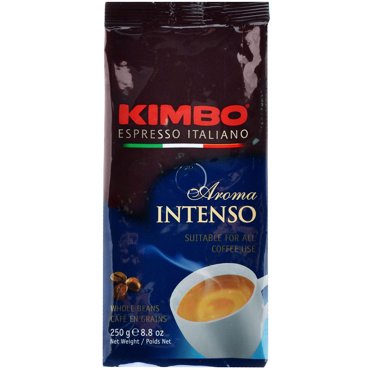 Kimbo Aroma Intenso кофе в зернах, 250 г8002200601218Натуральный жареный кофе в зернах Kimbo Aroma Intenso. Крепкий, с шоколадным послевкусием и ярким ароматом. Изысканная смесь арабики и робусты придаёт «Кимбо Арома Интенсо» насыщенный вкус. Состав смеси: 80% арабика, 20% робуста.