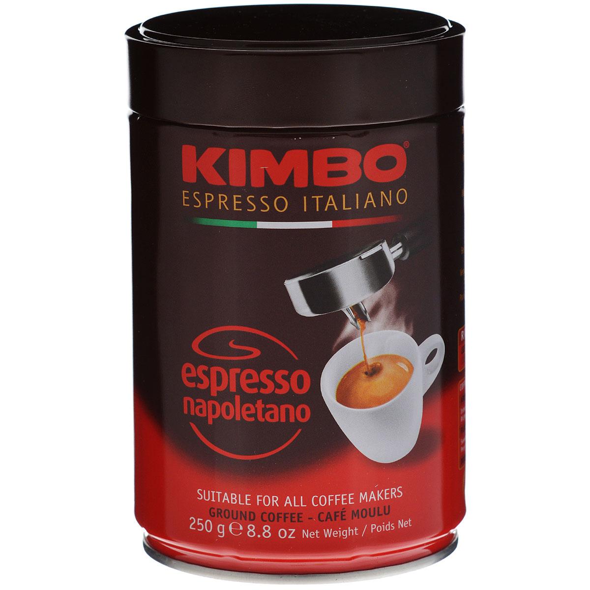 Kimbo Espresso Napoletano кофе молотый, 250 г (ж/б)101246Натуральный жареный молотый кофе Kimbo Espresso Napoletano с интенсивным вкусом и богатым ароматом. Традиционная неаполитанская обжарка характеризуется густой пенкой. Идеально подходит для любителей крепкого эспрессо. Состав смеси: 90% арабика, 10% робуста.