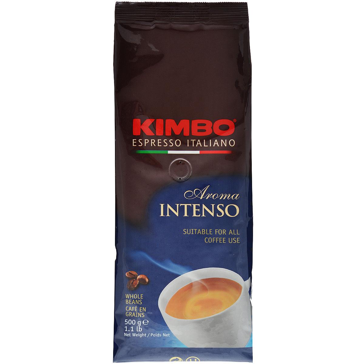 Kimbo Aroma Intenso кофе в зернах, 500 г0120710Натуральный жареный кофе в зернах Kimbo Aroma Intenso. Крепкий, с шоколадным послевкусием и ярким ароматом. Изысканная смесь арабики и робусты придаёт «Кимбо Арома Интенсо» насыщенный вкус. Состав смеси: 80% арабика, 20% робуста.