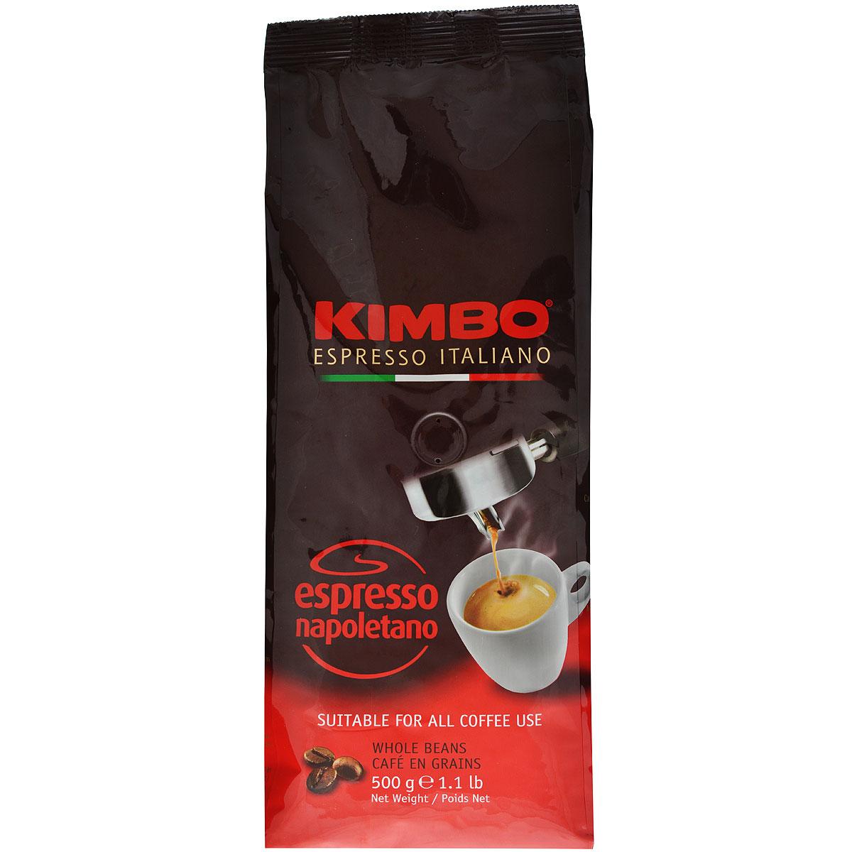 Kimbo Espresso Napoletano кофе в зернах, 500 г101246Натуральный жареный кофе в зернах Kimbo Espresso Napoletano с интенсивным вкусом и богатым ароматом. Традиционная неаполитанская обжарка характеризуется густой пенкой. Идеально подходит для любителей крепкого эспрессо. Смесь содержит 90% арабики и 10% робусты.
