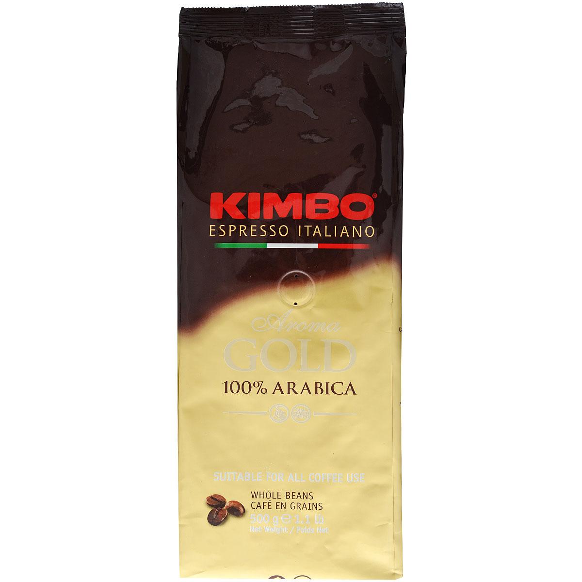 Kimbo Aroma Gold 100% Arabica кофе в зернах, 500 г8002200102159Натуральный жареный кофе в зернах Kimbo Aroma Gold 100% Arabica. Смесь превосходной арабики отличается нежным вкусом, мягкой кислинкой и тонкимароматом. Состав смеси: 100% арабика.