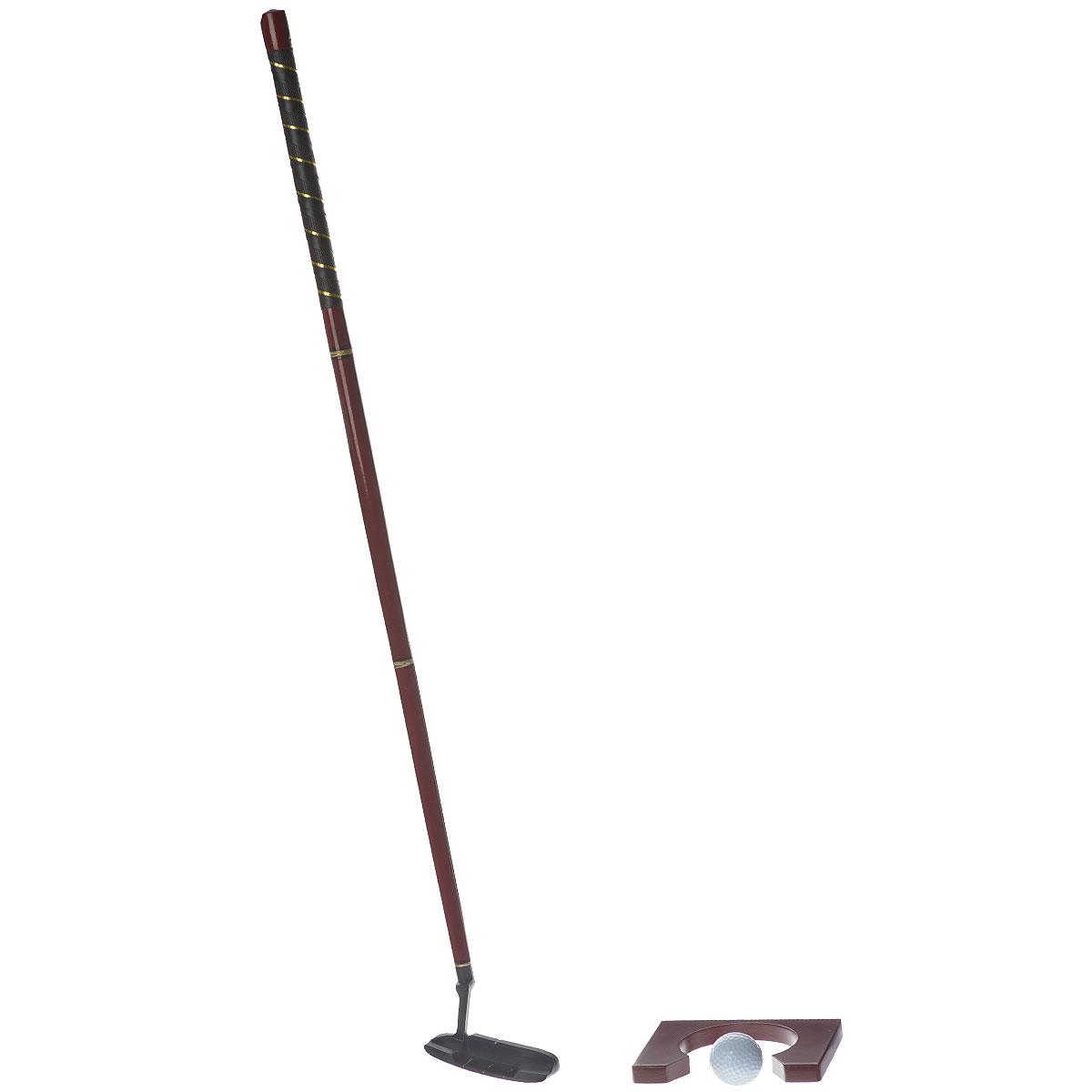Набор для игры в гольф состоит из деревянной лакированной лунки, двух пластиковых мячей и элементов для сборки клюшки. Задача гольфиста как можно точнее прицелиться, рассчитать расстояние до цели и ударить по мячу. Игровые элементы упакованы в чехол, выполненный из искусственной кожи. Чехол оснащен ручкой для удобной переноски. Такой игровой набор станет прекрасным подарком для любителя игры в гольф. Игра позволит приятно провести время в хорошей компании.