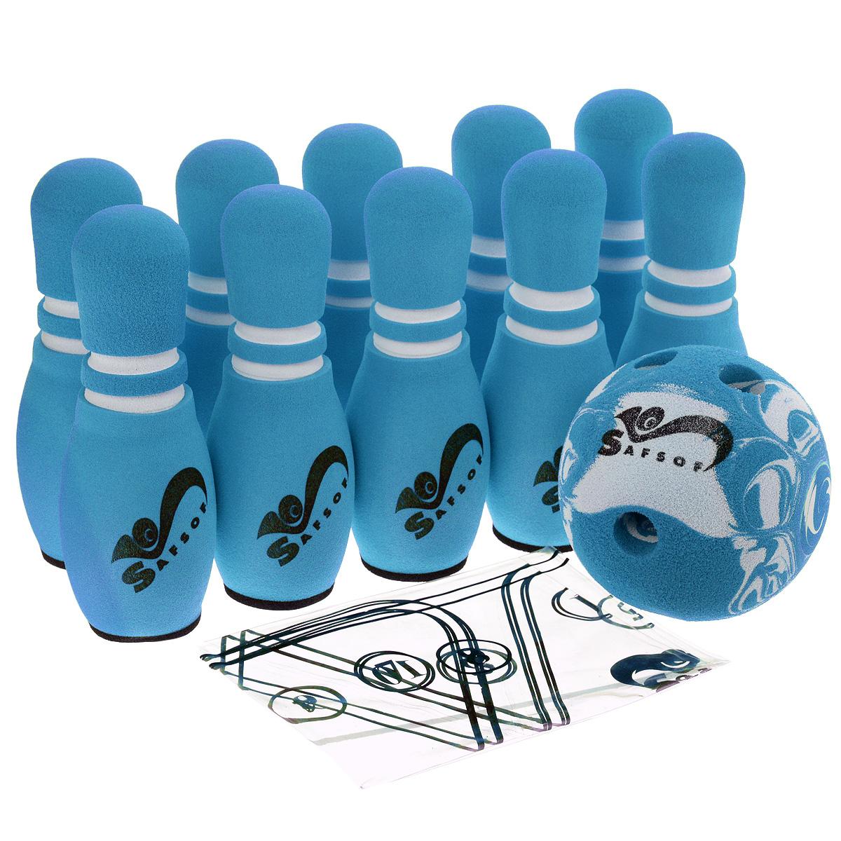 """Игровой набор Safsof """"Боулинг"""", изготовленный из вспененной резины, состоит из десяти кеглей и одного шара. Он безопасен и мягок, это обеспечивает безопасность ребенку. Суть игры в боулинг - сбить шаром максимальное количество кеглей. Число игроков и количество туров - произвольное. Очки, набранные с каждым броском мяча, рассматриваются как количество сбитых кегель. Расстояние, с которого совершается бросок, определяется игроками. Каждый игрок имеет право на два броска в одной рамке (рамка - треугольник, на поле которого выстраиваются кегли перед каждым первым броском очередного игрока). Бросок, при котором все кегли сбиты, называется """"страйк"""" и обозначается как Х. Если все кегли сбиты первым броском, второй бросок не требуется: рамка считается закрытой. Призовые очки за страйк - это сумма кеглей, сбитых игроком следующими двумя бросками. Выигрывает тот игрок, который в сумме набирает больше очков. Диаметр шара: 12 см. Высота кегель: 21 см."""