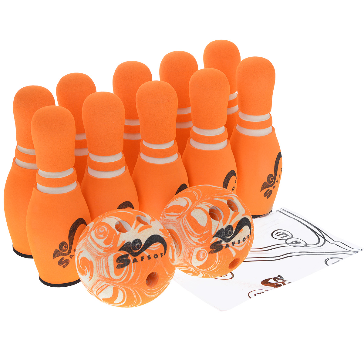 """Игровой набор Safsof """"Боулинг"""", изготовленный из вспененной резины, состоит из десяти кеглей и двух шаров. Он безопасен и мягок, это обеспечивает безопасность ребенку. Суть игры в боулинг - сбить шаром максимальное количество кеглей. Число игроков и количество туров - произвольное. Очки, набранные с каждым броском мяча, рассматриваются как количество сбитых кегель. Расстояние, с которого совершается бросок, определяется игроками. Каждый игрок имеет право на два броска в одной рамке (рамка - треугольник, на поле которого выстраиваются кегли перед каждым первым броском очередного игрока). Бросок, при котором все кегли сбиты, называется """"страйк"""" и обозначается как Х. Если все кегли сбиты первым броском, второй бросок не требуется: рамка считается закрытой. Призовые очки за страйк - это сумма кеглей, сбитых игроком следующими двумя бросками. Выигрывает тот игрок, который в сумме набирает больше очков. Диаметр шаров: 14 см. Высота кегель: 30 см."""