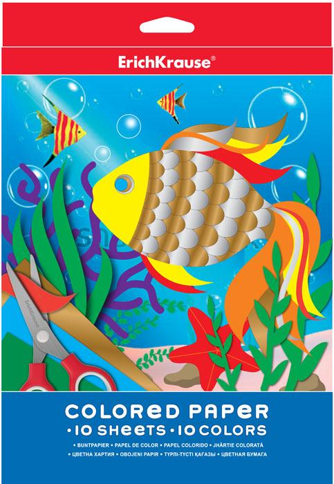 Цветная бумага Erich Krause, формат А4, 10 цветов72523WDНабор цветной бумаги Erich Krause идеально подойдет для занятий в детском саду, школе и дома. Цветная бумага с яркими красками обеспечит максимально удобный и увлекательный творческий процесс.Рекомендуемый возраст: 3+.