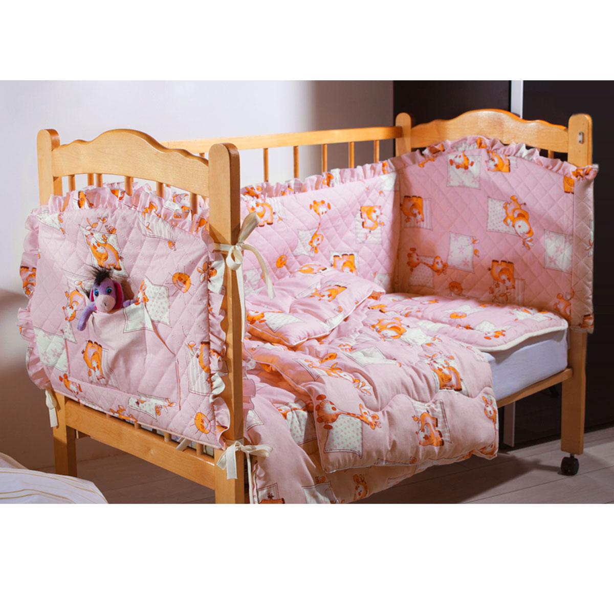 Комплект в кроватку Primavelle Кроха, цвет: розовый, 5 предметов. 601104005-26601104005-26Комплект в кроватку Primavelle Кроха прекрасно подойдет для кроватки вашего малыша, добавит комнате уюта и согреет в прохладные дни. В качестве материала верха использованы 70% хлопка и 30% полиэстера. Мягкая ткань не раздражает чувствительную и нежную кожу ребенка и хорошо вентилируется. Подушка и одеяло наполнены гипоаллергенным экофайбером, который не впитывает запах и пыль. В комплекте - удобный карман на кроватку для всех необходимых вещей.Очень важно, чтобы ваш малыш хорошо спал - это залог его здоровья, а значит вашего спокойствия. Комплект Primavelle Кроха идеально подойдет для кроватки вашего малыша. На нем ваш кроха будет спать здоровым и крепким сном.Комплектация:- бортик (150 см х 35 см); - простыня (120 см х 180 см);- подушка (40 см х 60 см);- одеяло (110 см х 140 см);- кармашек (60 см х 45 см).