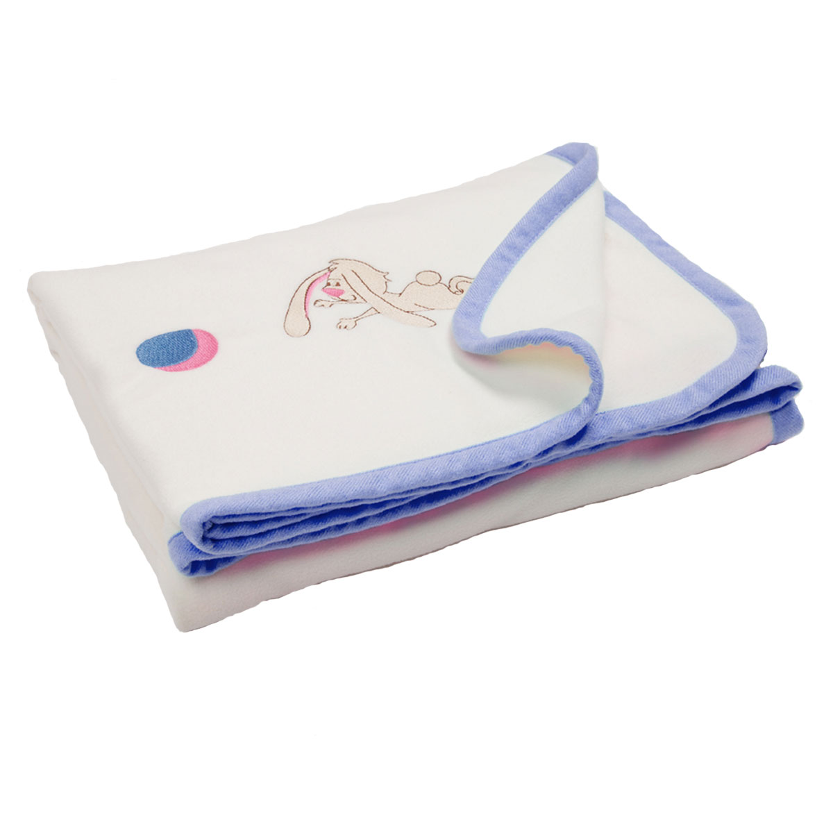 Флисовый плед с вышивкой Lovely 100х80 (голубой)К 03481_розовыйСостав: однотонный флис с окантовкой