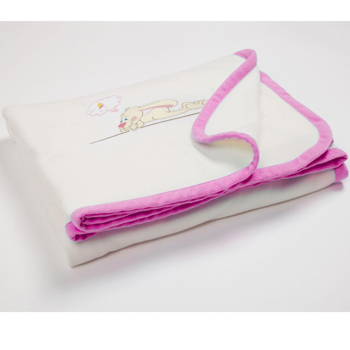 Флисовый плед с вышивкой Lovely 100х80 (розовый)106-026Состав: однотонный флис с окантовкой