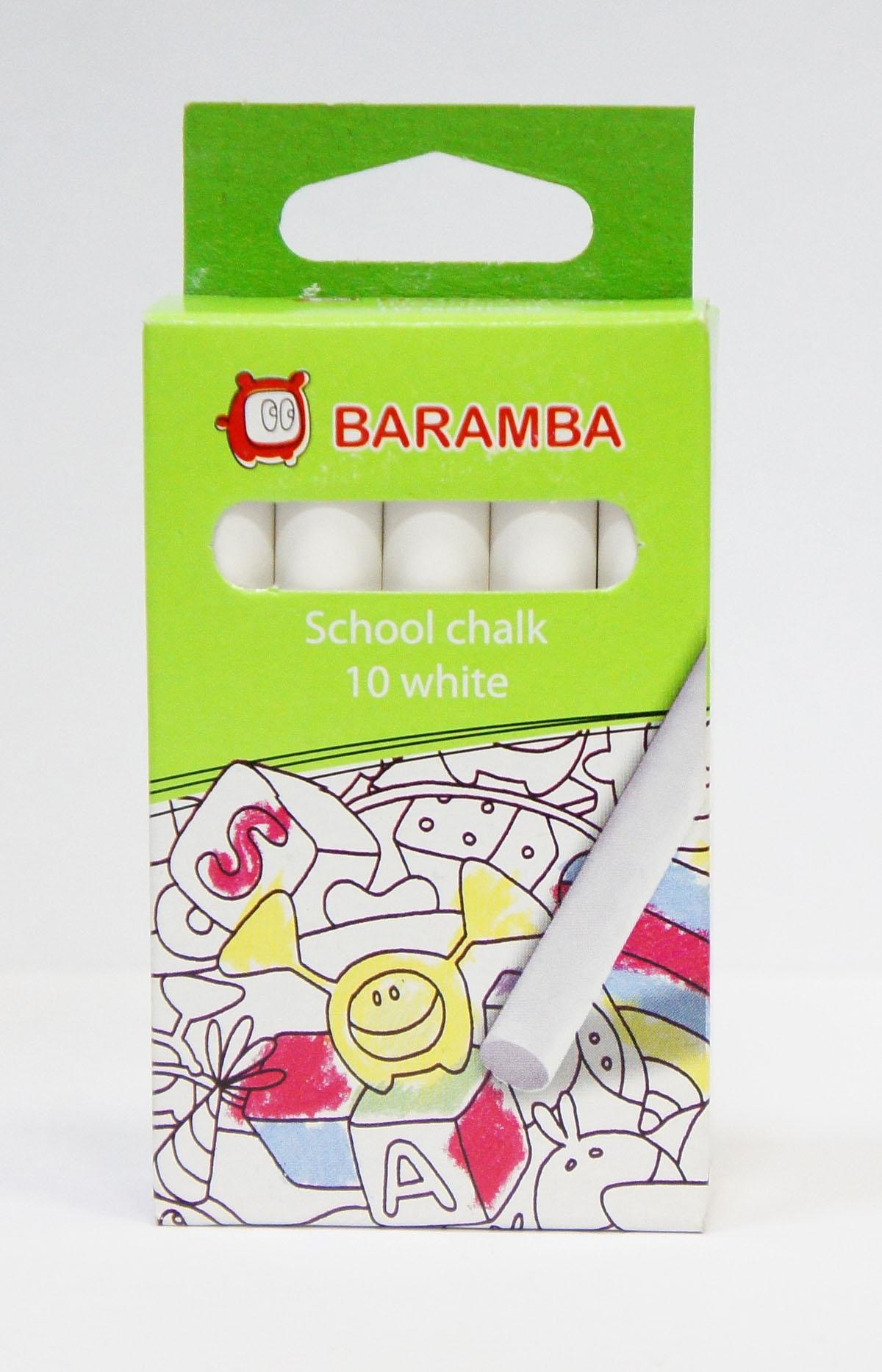Мелки белые Baramba School chalk, 10 штFS-36054Белые мелки Baramba School chalk с круглым корпусом предназначены для письма и рисования на школьных досках, асфальте, ватмане, дереве и бетоне. Состоят на 98% из карбоната кальция. Удобны в использовании, не крошатся, не царапают доску, не пачкают руки, яркие насыщенные цвета в наборах цветного мела.Рисование мелками интересное и увлекательное занятие. Порадуйте своего ребенка таким замечательным подарком!Не рекомендуется детям до 3-х лет.