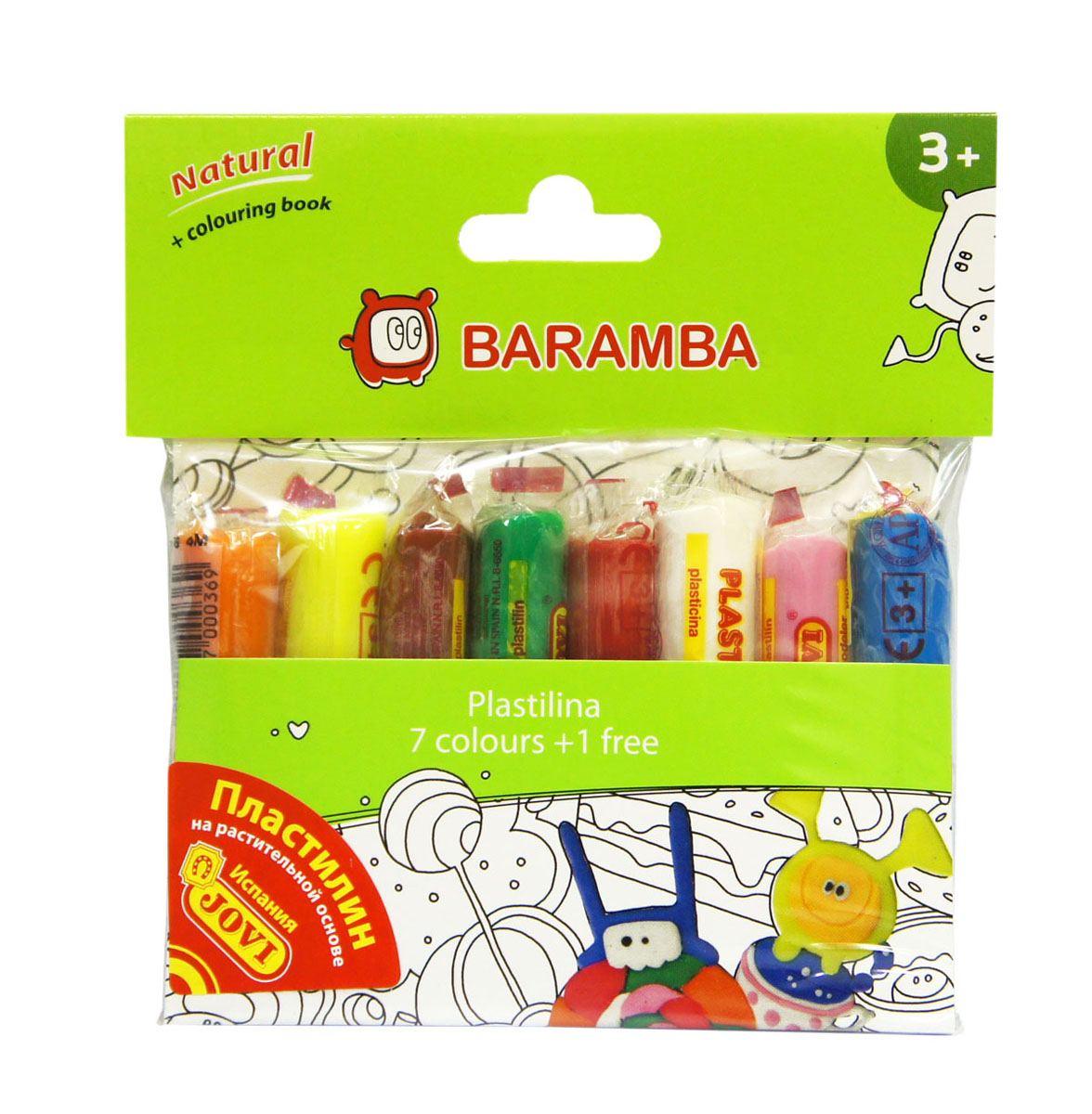 Пластилин Baramba Jovi, флуоресцентный, 7 цветов57-4438Пластилин Baramba Jovi - лучший выбор для лепки, он обладает превосходными изобразительными возможностями и поэтому дает простор воображению и самым смелым творческим замыслам. Пластилин, изготовленный на растительной основе, очень мягкий, легко разминается и смешивается, не пачкает руки и не прилипает к рабочей поверхности. Пластилин пригоден для создания аппликаций и поделок, ручной лепки, моделирования на каркасе, пластилиновой живописи - рисовании пластилином по бумаге, картону, дереву или текстилю. Благодаря удобной форме, брусочки пластилина очень удобно держать в руках.В набор входят 7 цветов: ярко-оранжевый, голубой, сиреневый, ярко-розовый, лимонный, розовый, зеленый.