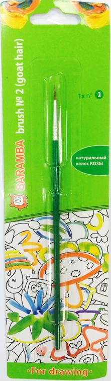 Baramba Кисть из волоса козы №2CS-GSA313020Круглая кисть Baramba идеально подойдет для детского творчества, художественных и декоративно-оформительских работ. Щетинки кисти из натурального ворса козы предназначены для работы с акварелью, гуашью, тушью. Конусообразная форма пучка позволяет прорисовывать мелкие детали и выполнять заливку фона. В набор входят одна круглая кисть №2. Деревянная ручка оснащена алюминиевой втулкой с тройным обжимом.