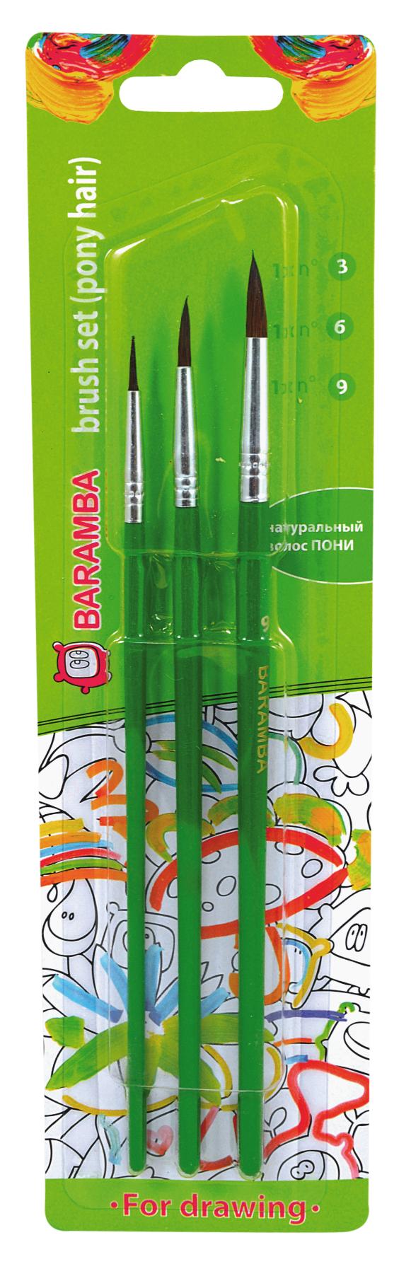 Baramba Набор кистей из волоса пони №3, 6, 9 (3шт)B820369Кисти из набора Baramba идеально подойдут для детского творчества, художественных и декоративно-оформительских работ. Кисти из натурального ворса пони разных размеровпредназначены для работы с акварелью, гуашью, тушью. Конусообразная форма пучка позволяет прорисовывать мелкие детали и выполнять заливку фона. В набор входят круглые кисти №3, 6 и 9. Деревянные ручки оснащены алюминиевыми втулками с тройной обжимкой.