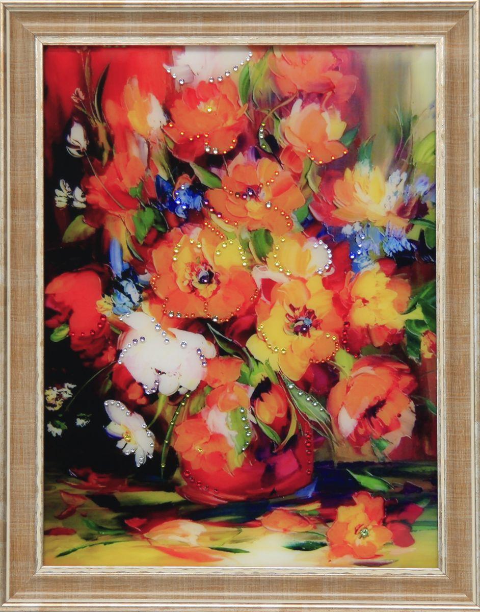 1625 Картина Сваровски Натюрморт Анемон12723стекло, хрусталь, пластик. 36,7х46,7