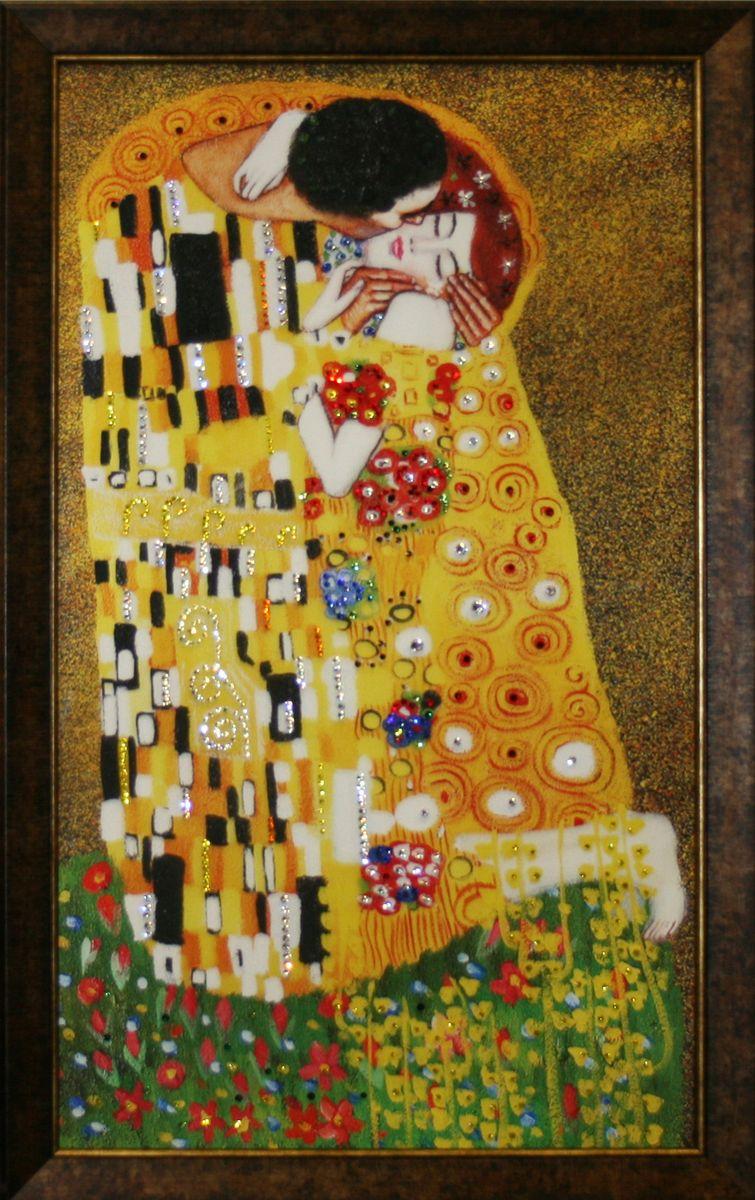 Картина с кристаллами Swarovski Густав Климт. Поцелуй, 40 х 70 см картины в квартиру картина etude 2 102х130 см