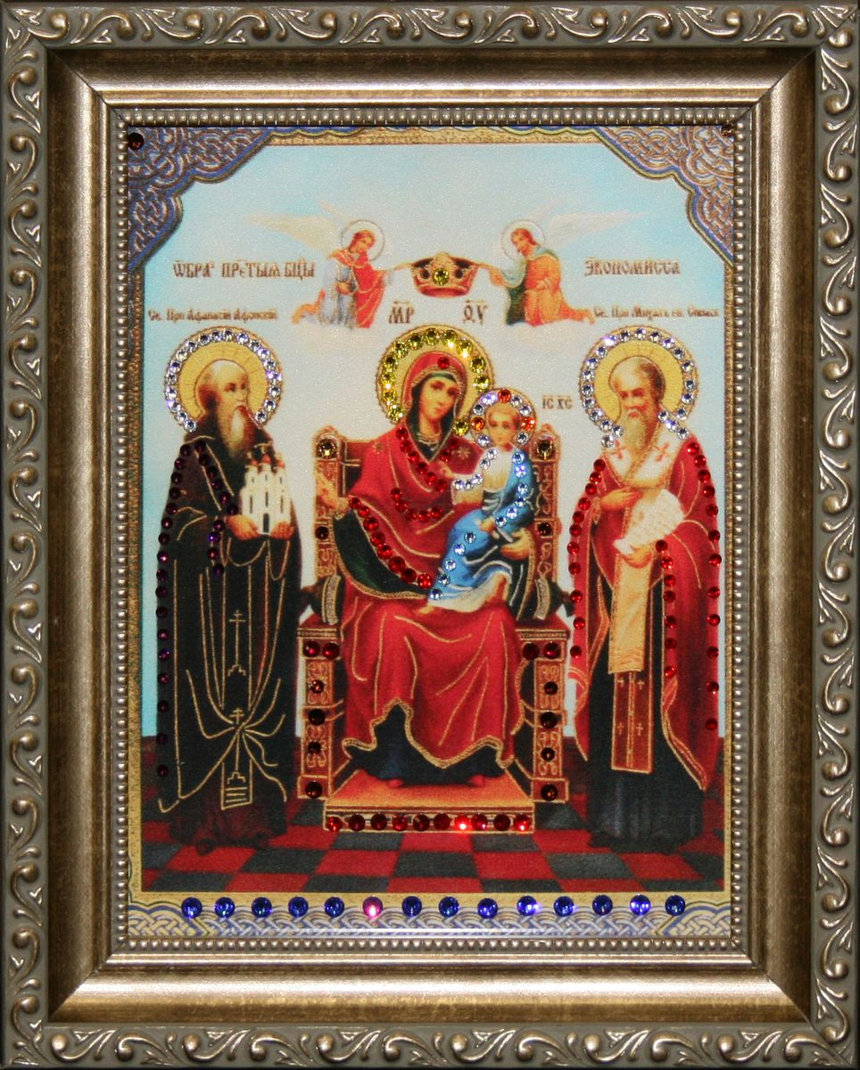 1534 Икона Экономисса4607161056844стекло, хрусталь, алюминий. 20,5х25,5