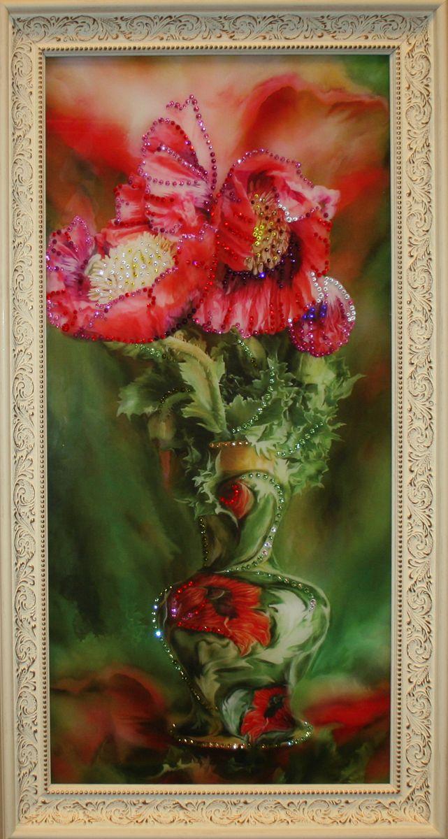1574 Картина Сваровски БУКЕТ МАКИ МАЛЫЙ25051 7_желтыйстекло, хрусталь, алюминий. 25х45