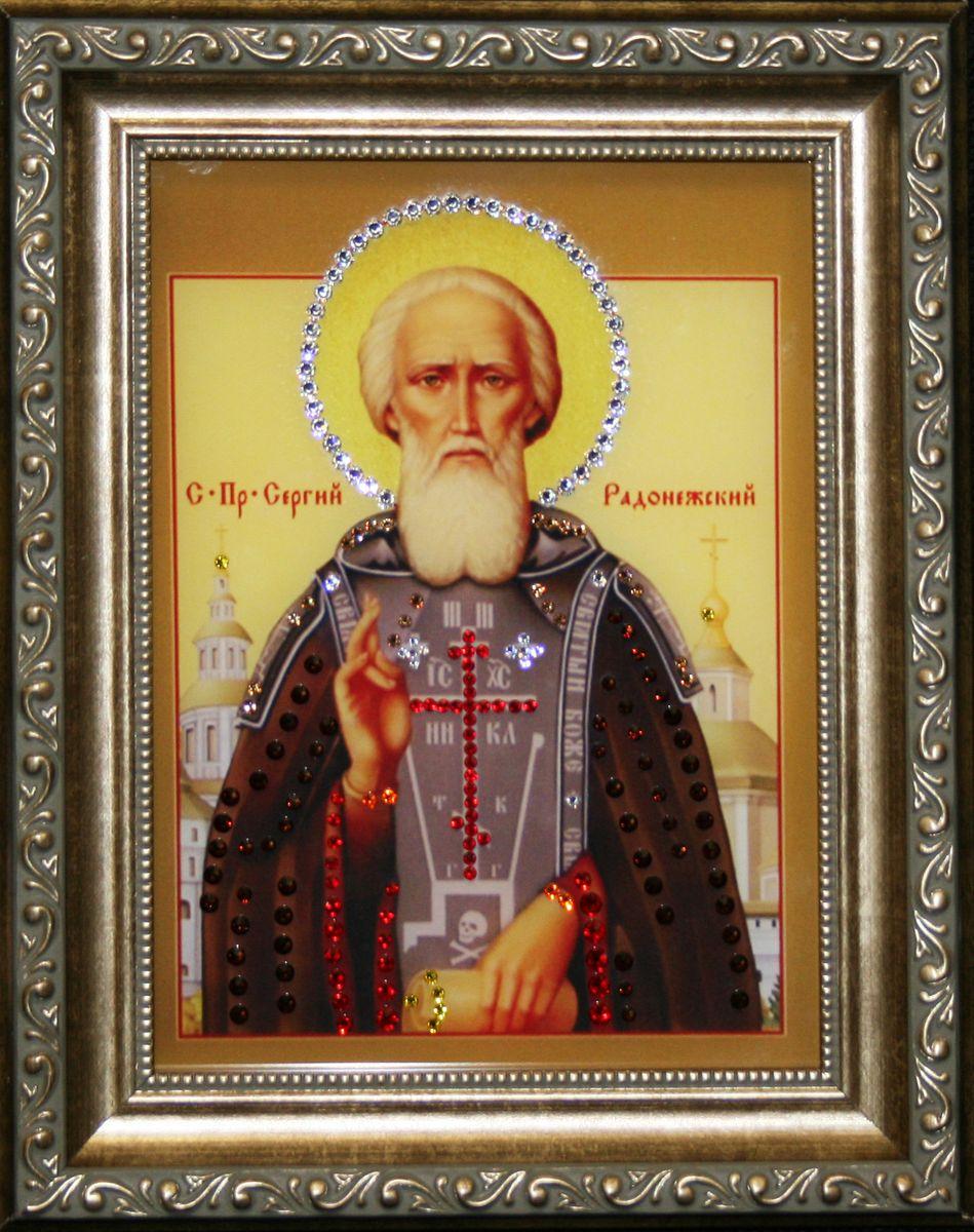 1468 Икона Сергий Радонежский0171-15-22стекло, хрусталь, пластик. 20,5х25,5