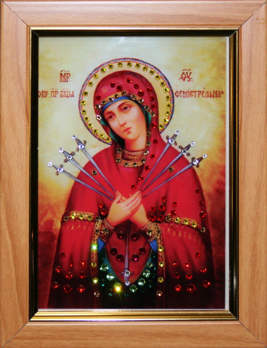 1475 ИКОНА БОЖИЕЙ МАТЕРИ СЕМИСТРЕЛЬНАЯ МАЛАЯ1567стекло, хрусталь, пластик. 14х18,6
