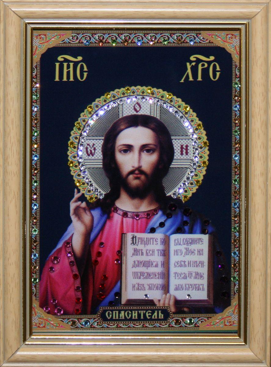 1478 ИКОНА ХРИСТОС СПАСИТЕЛЬ МАЛАЯ4-441стекло, хрусталь, алюминий. 12,3х17,6