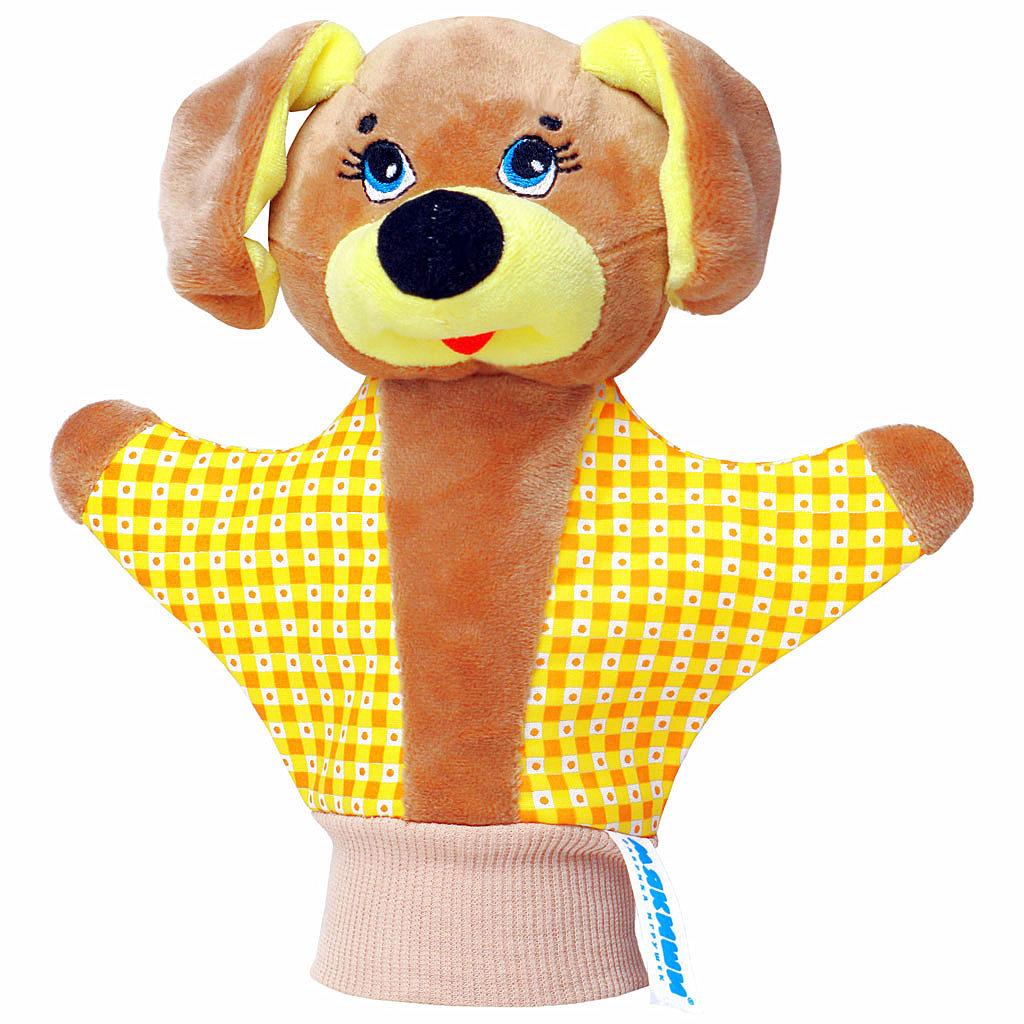 """Мягкая игрушка на руку """"Собачка"""" привлечет внимание малыша и не позволит ему скучать. Игрушка выполнена из высококачественной разнофактурной ткани и мягкого наполнителя, что позволяет ей быть абсолютно безопасной в игре. Забавная игрушка-рукавичка подходит для любого размера руки: и папиной ладошки, и маленькой детской ручки. В голове собачки спрятана погремушка. Надев игрушку на руку, вы и ваш малыш сможете разыграть различные сценки из любимых мультфильмов или собственные придуманные истории. Постановка домашнего спектакля - всегда незабываемое событие и для актеров и для зрителей. А для малышей, к тому же - важный шаг на пути к творческому самовыражению. Игрушка-рукавичка поможет укрепить мелкую моторику рук ребенка, развить его речевые способности и воображение."""