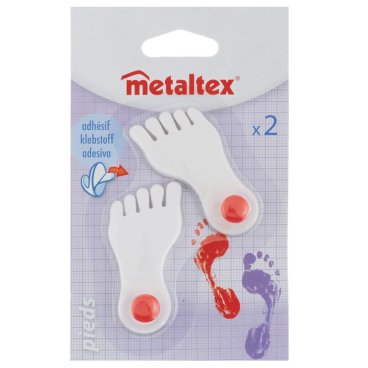 Набор крючков Metaltex Pieds, 2 шт40537000Набор настенных крючков Metaltex Pieds изготовлен из прочного пластика в виде левой и правой ножки. Они прекрасно подойдут для вашей ванной комнаты или кухни и не займут много места, надежно выдержав все, что вы на них повесите. Крючки могут крепится на стену с помощью липкой ленты которая находится на задней стороне крючка.Размер крючка: 3 см х 1,5 см х 6,5 см.Комплектация: 2 шт.