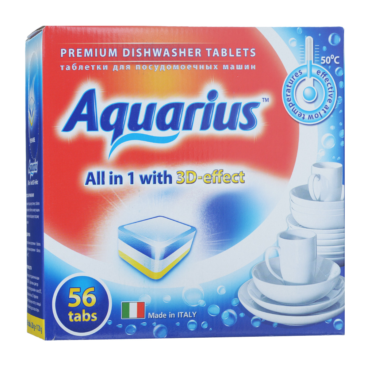 Таблетки для посудомоечных машин Lotta Aquarius, 56 шт16243Таблетки Lotta Aquarius предназначены для посудомоечных машин. Специальная пена с 3D-эффектом придает идеальную чистоту и сияющий блеск вашей посуде со всех сторон. Таблетки эффективны даже при низких температурах мойки - около 30°С.Для этого необходимо снять защитную пленку, положить таблетку в кювету машины и включить необходимую программу. В комплект входит 56 штук. Вес одной таблетки: 20 г. Состав: триполифосфат натрия, поликарбоксилат, неионные ПАВ, энзимы, ароматизатор. Товар сертифицирован.