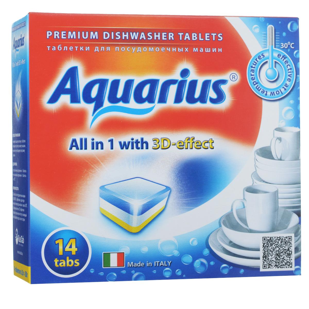 Таблетки для посудомоечных машин Lotta Aquarius, 14 шт391602Таблетки Lotta Aquarius предназначены для посудомоечных машин. Специальная пена с 3D-эффектом придает идеальную чистоту и сияющий блеск вашей посуде со всех сторон. Таблетки эффективны даже при низких температурах мойки - около 30°С.Для этого необходимо снять защитную пленку, положить таблетку в кювету машины и включить необходимую программу. В комплект входит 14 штук. Состав: фосфаты более 30%, кислородосодержащий отбеливатель более 5%, но менее 15%, поликарбоксилаты, фосфонаты, неионные ПАВ, энзимы (амилаза, протеаза), краситель, отдушка менее 5%. Товар сертифицирован.
