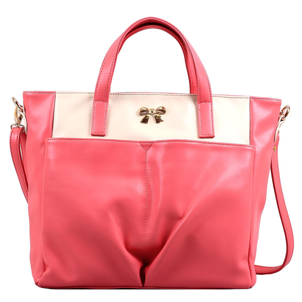 Сумка женская Leighton, цвет: розовый, молочный. 10642-082S76245Женская сумка Leighton выполнена из высококачественной искусственной кожи, украшена декоративным бантиком. Изысканный декор, стильная фурнитура, классическая форма в сочетании с вместительностью и удобством делают эту модель прекрасным дополнением к вашему образу. Модель закрывается на застежку-молнию. Внутри - большое отделение, разделенное средником на застежке-молнии, также есть два накладных кармашка для мелочей, телефона и врезной карман на застежке-молнии. Лицевую сторону украшают два накладных кармана на магнитных кнопках. Задняя сторона дополнена плоским врезным карманом на застежке-молнии. Сумка оснащена двумя удобными ручками и регулируемым плечевым ремнем.Прекрасное дополнение к отличному настроению.