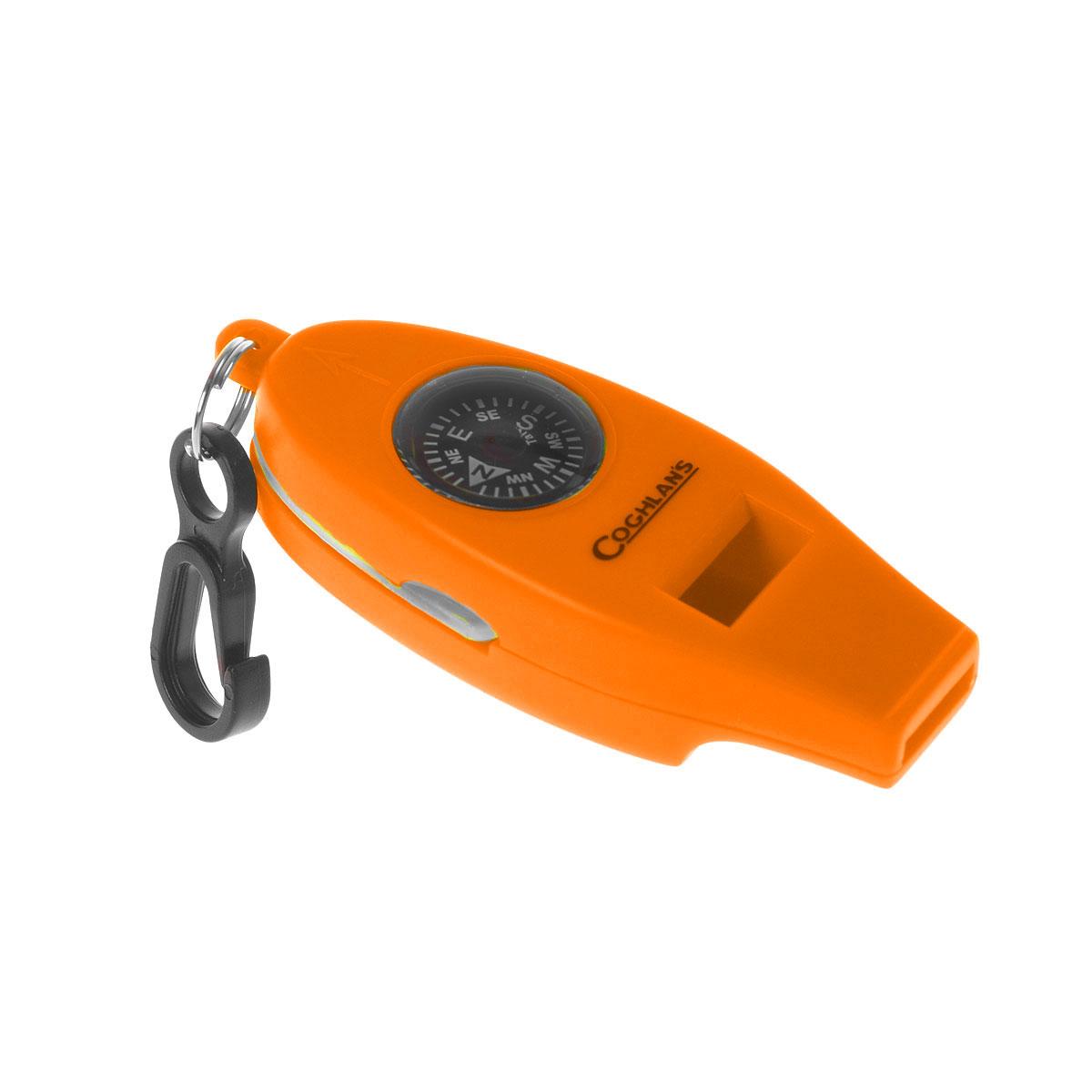 Свисток Coghlans, с четырьмя функциями, цвет: оранжевый9848Удобный и эффективный в чрезвычайных ситуациях гаджет Coghlans с 4-мя функциями - свисток, термометр, компас и увеличительное стекло для чтения карт. Возьмите с собой в лес, когда пойдете за грибами! Ударопрочный корпус, оснащен надежным карабином для крепления.