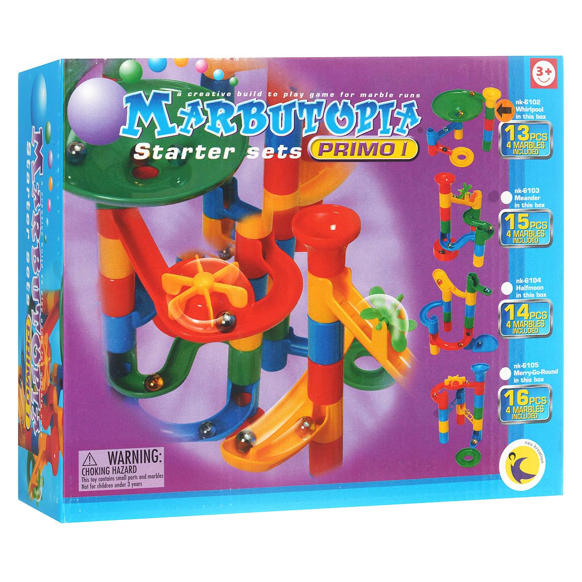 """Конструктор Marbutopia """"Водоворот"""" - первый шаг ребенка в мир конструирования объемных лабиринтов. В данном комплекте имеются разноцветные пластиковые детали: дорожки-переходники, """"водоворот"""", вертикальные трубки, 4 стеклянных шарика-хамелеона и другие. Основная задача - построить горку так, чтобы шарик не застревал, а скатывался вниз по дорожкам и виражам. Особенность конструктора заключается в том, что он позволяет ребенку строить бесконечные забавные лабиринты руководствуясь своей фантазией или по прилагаемой инструкции (2 варианта сборки лабиринта). Конструирование лабиринтов полезно для развития пространственного мышления и воображения. Также развивает координацию, моторику, концентрацию, планирование, стратегию, понятие причины и следствия. Раннее развитие этих навыков, как известно, существенно увеличивает академические и интеллектуальные способности ребенка. Набор """"Водоворот"""" совместим с другими наборами серии """"Primo"""" благодаря чему вы всегда можете..."""