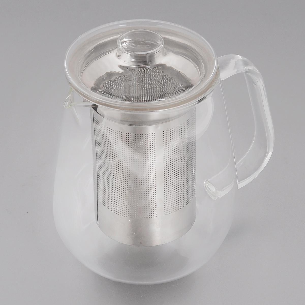 Чайник заварочный Winner, с фильтром, 650 мл115510Заварочный чайник Winner, изготовленный из термостойкого стекла, предоставит вам все необходимые возможности для успешного заваривания чая. Чай в таком чайнике дольше остается горячим, а полезные и ароматические вещества полностью сохраняются в напитке. Чайник оснащен фильтром и крышкой. Фильтр выполнен из нержавеющей стали. Простой и удобный чайник поможет вам приготовить крепкий, ароматный чай.Нельзя мыть в посудомоечной машине. Не использовать в микроволновой печи.Диаметр чайника (по верхнему краю): 7,5 см.Высота чайника (без учета крышки): 12 см.Высота фильтра: 10 см.