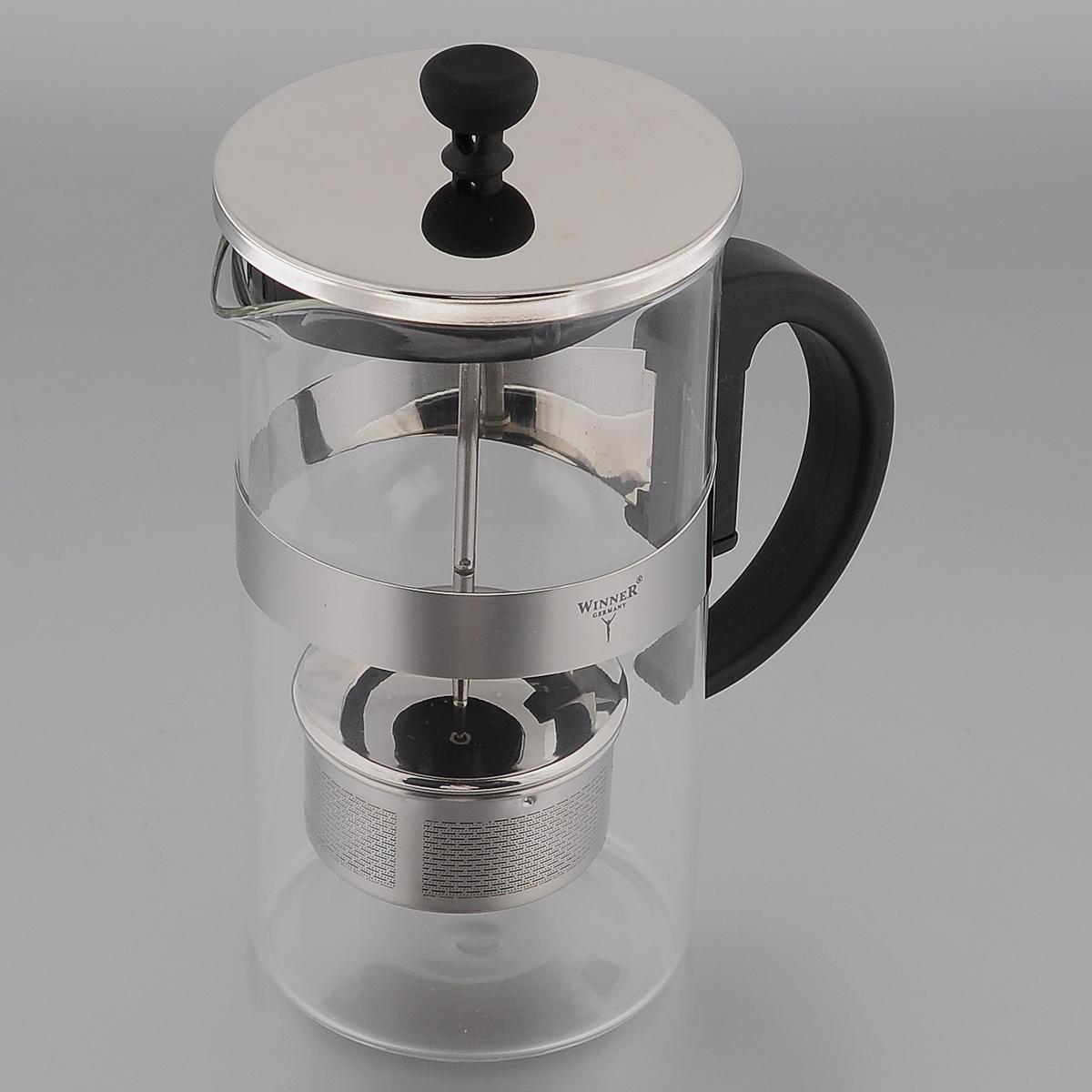 Френч-пресс Winner, 1 л. WR-522254 009312Френч-пресс Winner, изготовленный из термостойкого стекла с пластиковой ручкой, предоставит вам все необходимые возможности для успешного заваривания чая. Чай в таком чайнике дольше остается горячим, а полезные и ароматические вещества полностью сохраняются в напитке. Изделие оснащено фильтром, крышкой и удобным поршнем из нержавеющей стали, который поможет дозировать степень заварки напитка. Простой и удобный френч-пресс Winner поможет вам приготовить крепкий, ароматный чай.Нельзя мыть в посудомоечной машине. Не использовать в микроволновой печи.Диаметр чайника (по верхнему краю): 9,5 см.Высота чайника (без учета крышки): 18 см.Высота фильтра: 3,5 см.