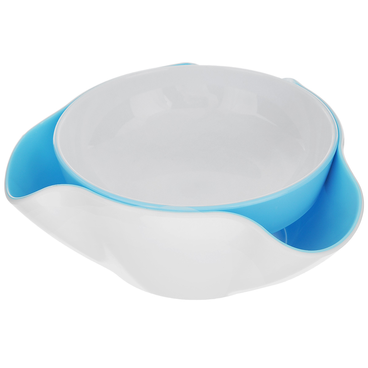 Блюдо для закусок Bradex, цвет: белый, голубой115510Блюдо для закусок Bradex изготовлено из высококачественного пластика. Состоит из основного съемного блюда и поддона. Такое блюдо идеально подходит для оформления закусок, в которых есть отходы, такие как орехи, фисташки, виноград, вишня и т. д.Вам больше не придется неопрятно складывать несъедобные фрагменты пищи на специально поставленном блюдце или на краю своей тарелки. Все спрячет специальный поддон!Можно мыть в посудомоечной машине.Диаметр основного блюда: 16 см.Высота основного блюда: 4 см.Размер поддона (по верхнему краю): 20,5 см х 20,5 см.Высота поддона: 8 см.