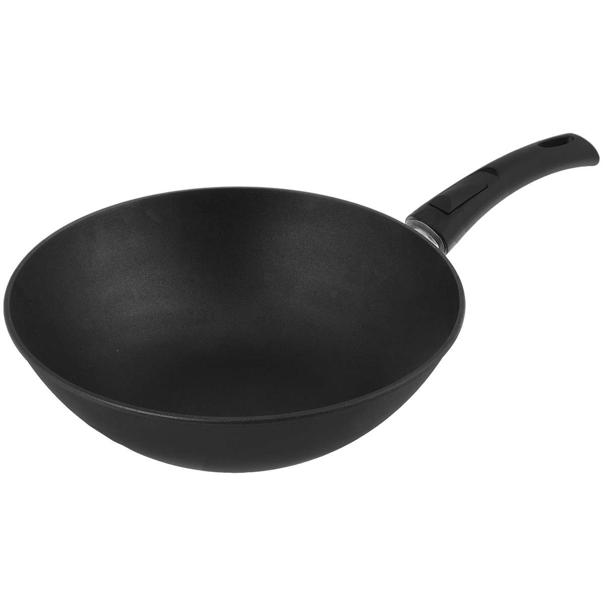 Сковорода-вок литая Нева Металл Посуда Титан, с полимер-керамическим антипригарным покрытием, со съемной ручкой, цвет: черный. Диаметр 30 см68/5/2Литая сковорода-вок НМП Титан изготовлена из алюминия с полимер-керамическим антипригарным покрытием.Эргономичная ручка - съемная, что позволяет использовать сковороду-вок в духовом шкафу или морозильной камере. Особенности посуды серии ТИТАН: - 4-слойная антипригарная полимер-керамическая система ТИТАН обладает повышенной износостойкостью, достигаемой за счет особой структурыи специальной технологии нанесения. Это собственная запатентованная разработка компании, не имеющая аналогов в России. Прототип покрытия применялся при постройке космического корабля Буран и орбитальных спутников- в состав системы ТИТАН входят антипригарные слои на водной основе - система ТИТАН традиционно производится без использования PFOA /перфтороктановой кислоты/ - равномерно нагревается за счет особой конструкции корпуса по принципу золотого сечения, толстых стенок и еще более толстого дна - приготовленная еда получается особенно вкусной благодаря специфическим термоаккумулирующим свойствам литого алюминия - подходит для газовых, электрических и стеклокерамических плит. Посуду можно мыть в посудомоечной машине- корпус практически не подвержен деформации даже при сильном нагреве- изделия проходят тесты по условному циклу приготовления: нагрев до 220°С, охлаждение, истирание губкой с 5%-раствором моющего средства. Сковороды с покрытием ТИТАН выдерживают более 4000 таких циклов. Объем: 4 л. Диаметр: 30 см.Высота стенки: 9 см. Толщина стенки: 2,5 мм.Толщина дна: 6,5 мм.Длина ручки: 19 см.