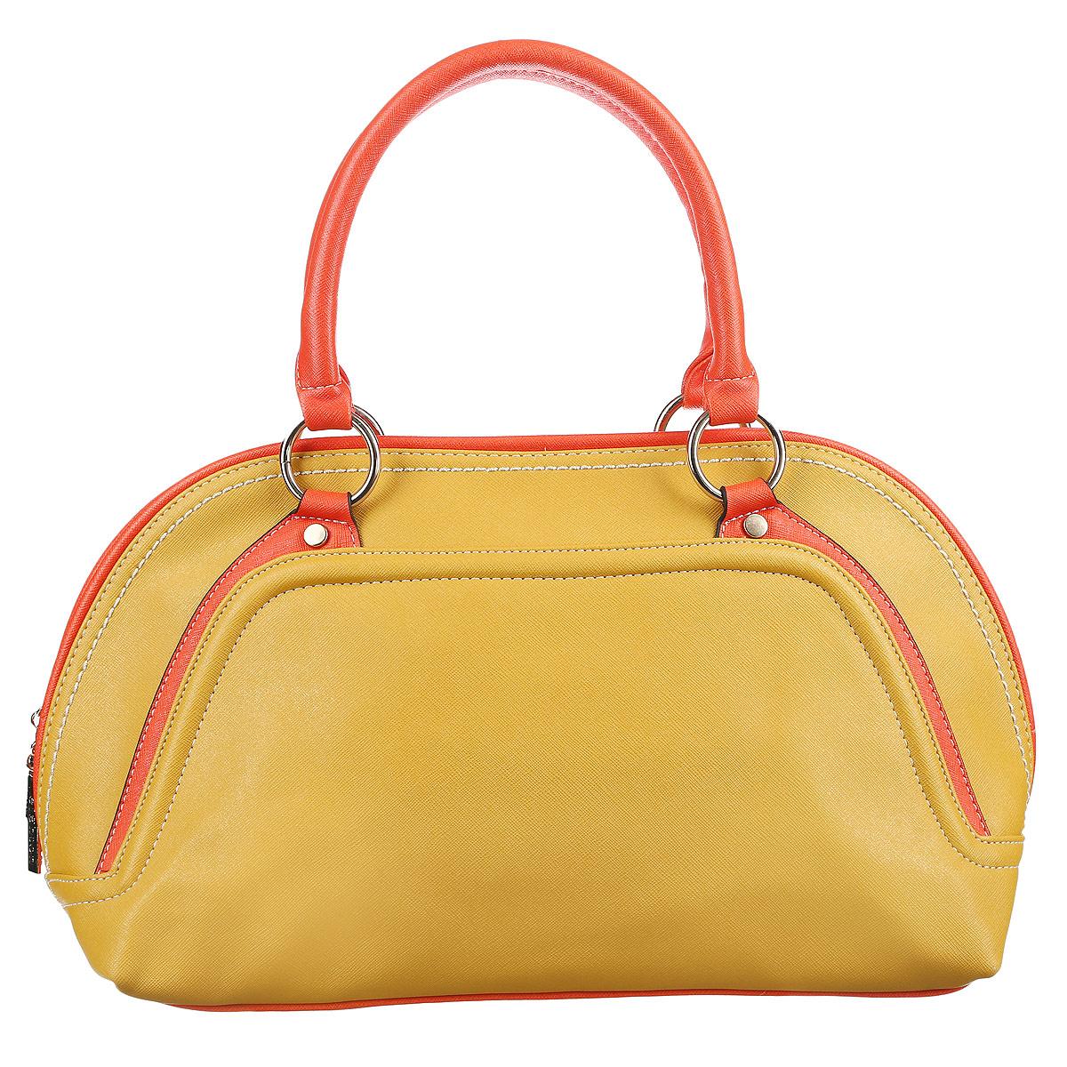 Сумка женская Leighton, цвет: желтый, оранжевый. 90468-3769/19/3769/18 жел10130-11Оригинальная женская сумка Leighton выполнена из высококачественной искусственной кожи. Сумка имеет одно большое отделение и закрывается на застежку-молнию с двумя бегунками. Внутри вшитый карман на молнии, накладной карман на застежке-молнии, два накладных кармана для мелочей и мобильного телефона. На внешней стороне сумки расположен дополнительный карман на застежке-молнии. Сумка оснащена двумя удобными ручками и жестким основанием.Классическое цветовое сочетание, стильный декор и модный дизайн сумочки Leighton - прекрасное дополнение к гардеробу модницы.