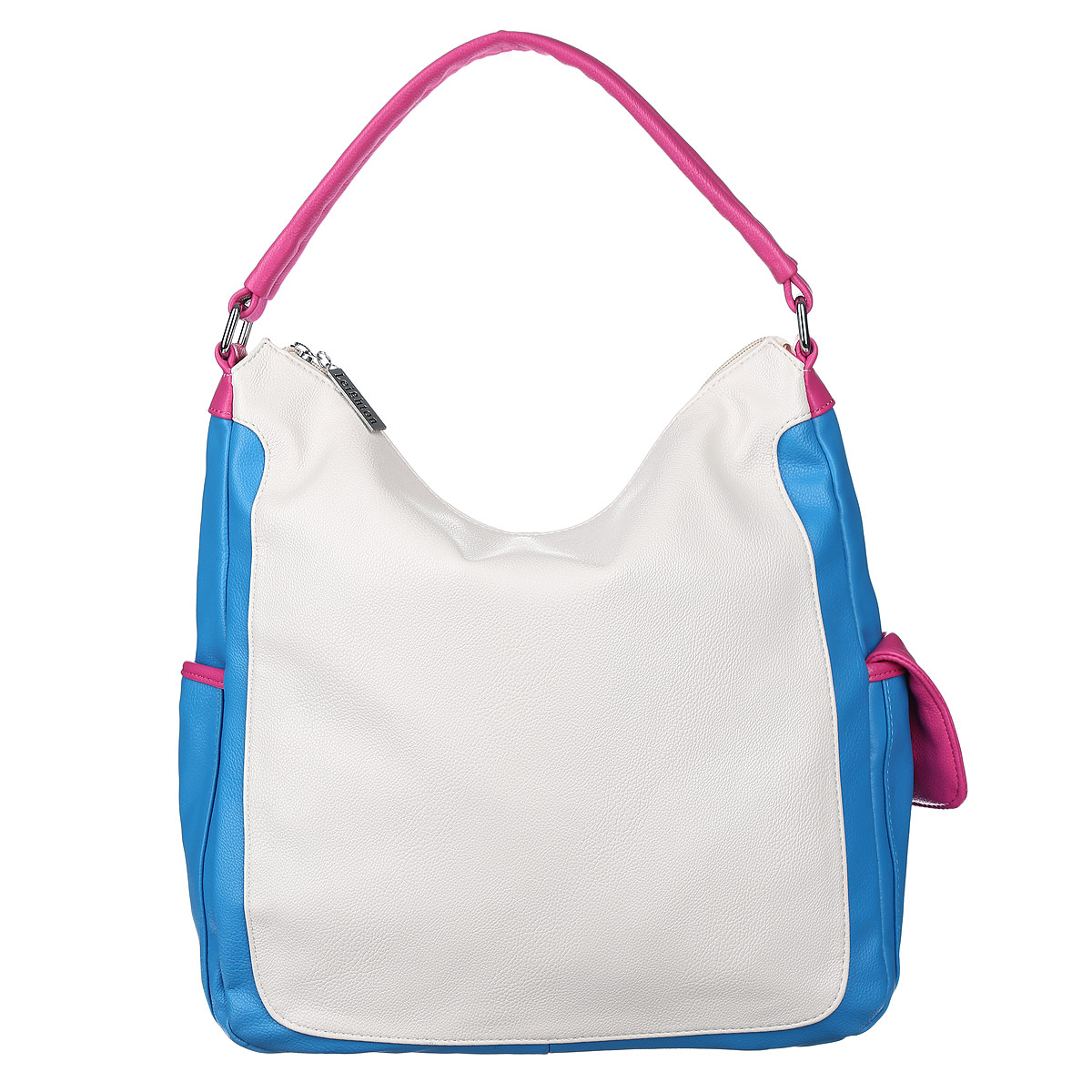 Сумка женская Leighton, цвет: белый, голубой, розовый. 10421-1070/922/1070/707/123008Стильная женская сумка Leighton выполнена из высококачественной искусственной кожи с отделкой контрастного цвета.Сумка имеет одно вместительное отделение, закрывающееся на застежку-молнию. Внутри располагается вшитый карман на застежке-молнии, образующий дополнительное малое отделение, а также два открытых кармана для мелочей и один прорезной карман на молнии. С внешней стороны на задней стенке расположен карман на молнии. По бокам сумки расположены дополнительные карманы, которые застегиваются на магнитные кнопки.Сумка имеет одну ручку. Фурнитура - серебристого цвета. Сумка - это стильный аксессуар, который подчеркнет вашу индивидуальность и сделает ваш образ завершенным. Классическое цветовое сочетание, стильный декор, модный дизайн - прекрасное дополнение к гардеробу модницы.