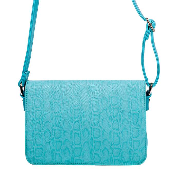Сумка женская Renee Kler, цвет: голубой. RK343-16BA7426Симпатичная женская сумка Renee Kler изготовлена из искусственной кожи, оформлена принтом под рептилию. Модель закрывается на застежку-молнию и дополнительно клапаном на две магнитные кнопки. Внутри - два вместительных отделения, также есть накладной открытый карман и втачной карман на застежке-молнии. С внешней задней стороны - карман на застежке-молнии.Сумка оснащена не съемным плечевым ремнем, регулируемым по длине. Модная и элегантная сумка Renee Kler подчеркнет ваш яркий стиль и сделает образ завершенным.