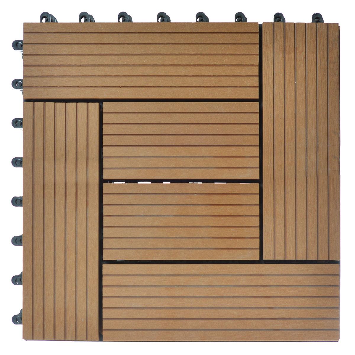 Покрытие Konex Декинг, цвет: бук, 30 х 30, 6 шт. ПД-Б6C0042416Покрытие Konex Декинг состоит из 6 секций, изготовленных из высококачественного дерева, основа выполнена из полипропилена. Покрытие предназначено для создания дополнительного (отделочного) слоя пола в различных помещениях бытового и хозяйственного назначения (коридоры, веранды, сауны и бани, ванные комнаты, балконы), а также для быстрого обустройства открытых площадок и дорожек (спортивные и детские площадки, зоны отдыха, садовые дорожки, террасы, палубы, причалы, бассейны) на подготовленных площадях.Размер секции: 30 см х 30 см х 3 см.Количество секций: 6 шт.