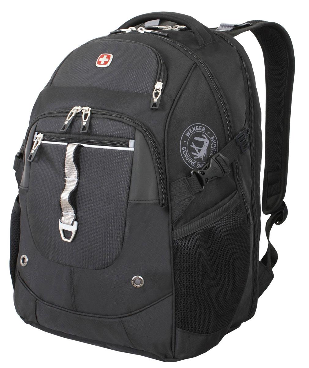 Рюкзак городской Wenger, цвет: черный, серебристый, 34 см x 22 см x 46 см, 34 лBP-001 BKВысококачественный и стильный, надежный и удобный, а главное прочный рюкзак Wenger. Благодаря многофункциональности данный рюкзак позволяет удобно и легко укладывать свои вещи.Особенности рюкзака:2 внешних кармана на молнии. 2 внешних сетчатых кармана для бутылок с водой. Большое основное отделение. Внешний карман для очечника на молнии. Внешнее металлическое кольцо. Внутренний карабин для ключей. Возможность крепления на чемодане. Карман-органайзер для мелких предметов. Карман для планшетного компьютера с диагональю до 38 см. Металлические застежки молний с пластиковыми вставками. Мягкая ручка для переноски. Отделение на липучке для ноутбука 15 с системой ScanSmart. Петля для очков. Регулируемые плечевые ремни Внутренний сетчатый карман на молнии для хранения аксессуаров ноутбука. Стягивающие ремни. Эргономичная спинка с системой циркуляции воздуха Airflow.