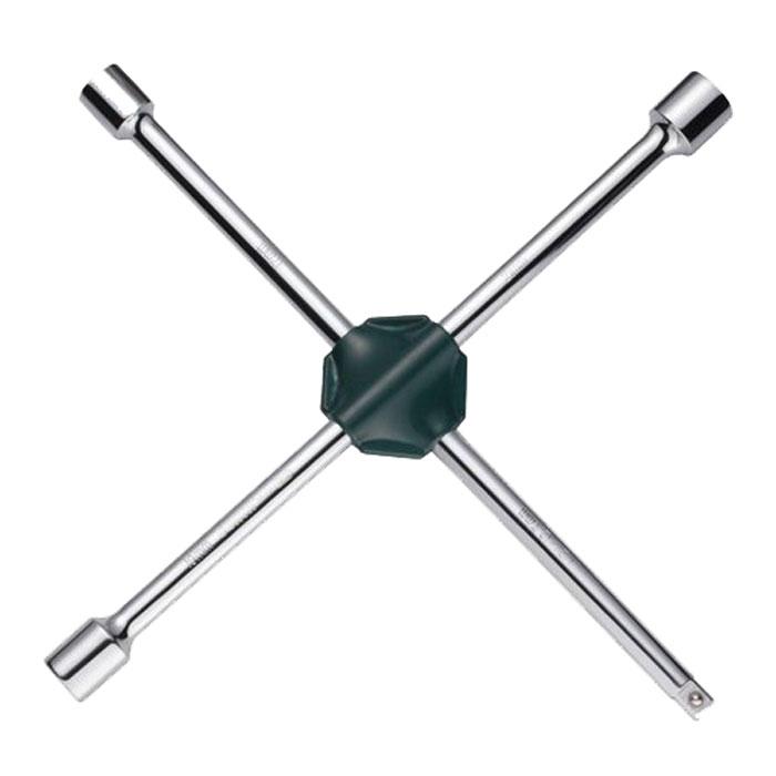 Ключ баллонный SATA, крестовой, 17 мм, 19 мм, 21 мм, 1/209014Баллонный ключ-крест SATA применяется для монтажа/демонтажа автомобильных колес. Такой инструмент является идеальным решением для использования в любых автосервисах. Данный ключ имеет три головки размерами 17 мм, 19 мм, 21 мм и23 мм и переходник 1/2 на головку.