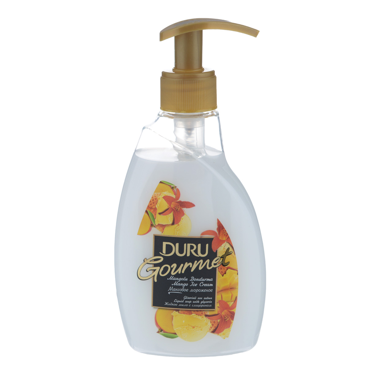Duru GOURMET Мыло жидкое Манговое мороженое 300мл79907Современное средство гигиены и ухода за кожей с увлажняющим действием глицерина. Отличается приятным фруктовым ароматом и нежной текстурой.