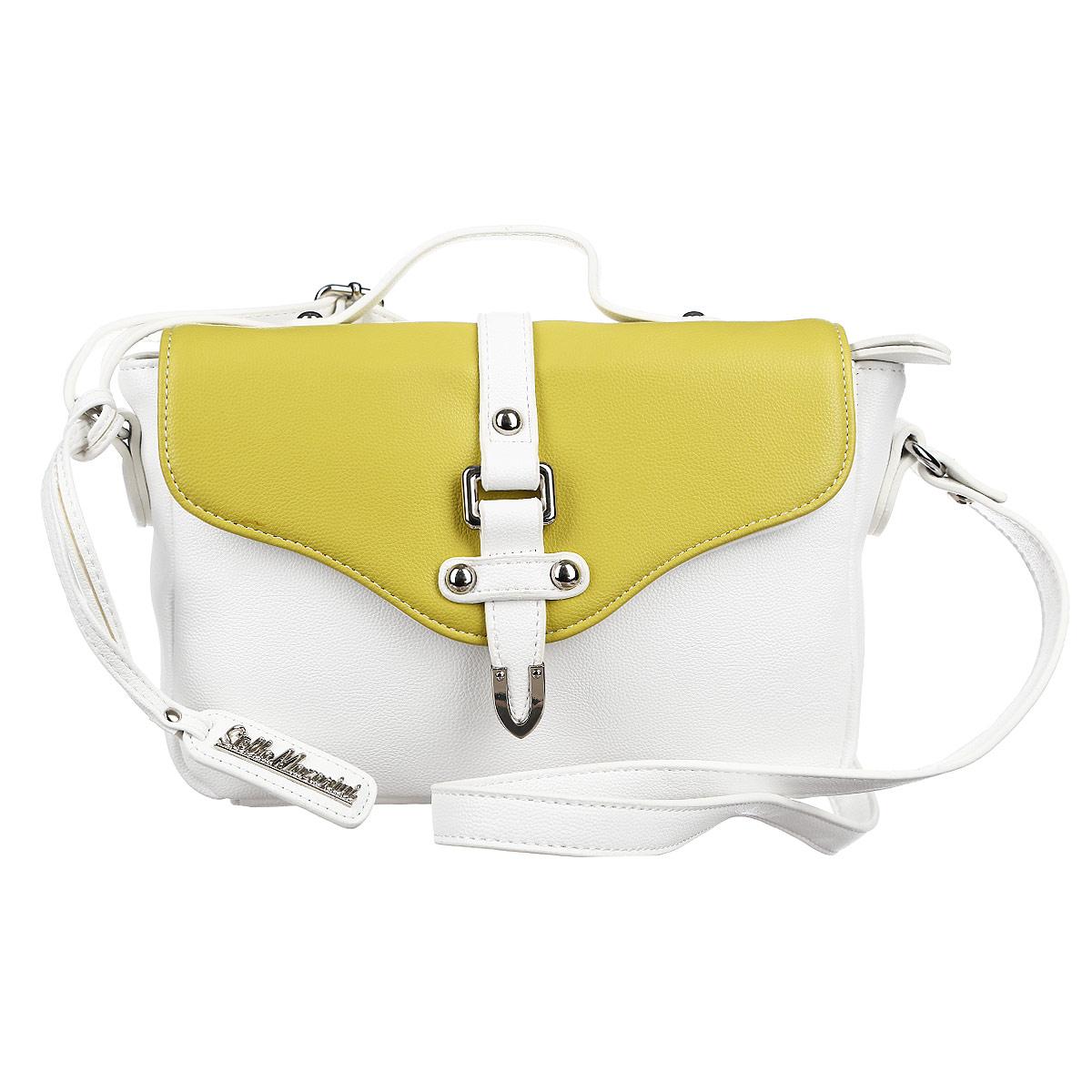 Сумка женская Stella Mazarini, цвет: белый, зеленый. 12-R38550CA-B86-05-CВместительная сумка, выполненная из высококачественной искусственной кожи. Модель закрывается на молнию, на задней стенке открытый карман, прилагается длинный ремень. Внутри одно основное отделение с большим карманом на молнии, а также внутренние карманы для документов и мобильного телефона, один из которых защищен застежкой на кнопке. Такая сумка позволит вам подчеркнуть свой стиль и особенный статус.