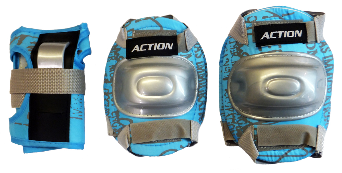 Комплект защиты Action, для катания на роликах, цвет: голубой, серый. Размер LWRA523700После пары падений любой, даже самый самонадеянный человек начинает осознавать необходимость защитной экипировки. Так надо ли подвергать себя или своего ребенка опасности? Лучше уж приобрести защиту и не забывать о ней даже тогда, когда вы научитесь хорошо кататься. В комплект защитной экипировки Action входят: наколенники и налокотники - закрывают и предохраняют от ударов локти и колени - места вечных ссадин у детей. Специальная защита для запястий защищает кисть от ударов и предохраняет от вывихов. Вывихи, ушибы и переломы запястий - вообще самые частые травмы при катании на роликах, вне зависимости от стиля катания, опытности и других факторов.Защитная экипировка легко надевается и крепится при помощи ремней на липучках. Характеристики: Материал: ПВХ, нейлон. Размер наколенников: 19 см х 14 см х 3 см. Размер налокотников: 17 см х 13 см х 3 см. Размер основы защиты запястья: 15 см х 10 см х 1 см. Ширина ремней: 3 см. Размер упаковки: 46 см х 22 см х 6 см.