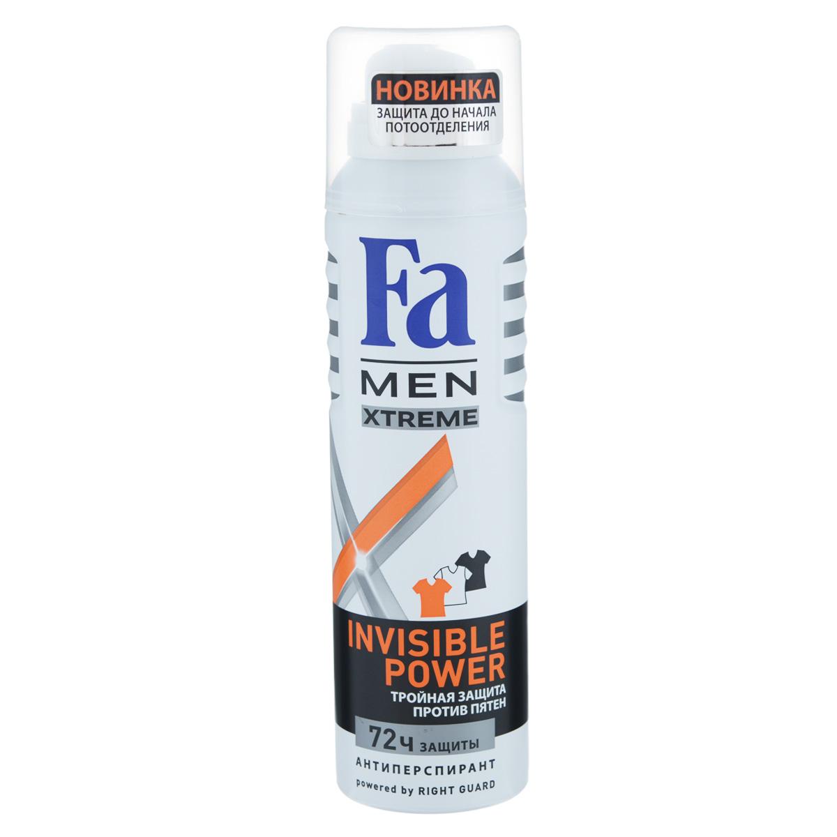 FA MEN Xtreme Дезодорант-аэрозоль Invisible, 150 мл72523WDFa Men Invisible Power – экстремальная защита от пота, запаха, а так же белых, желтых и масляных пятен на одежде. Инновационная формула с технологией Sweat Detect* борется с потом еще до его появления.- Научно доказано: 72ч защиты от пота и запаха- 0 % спирта. Хорошая переносимость кожей подтверждена дерматологами.Также почувствуйте притягательную свежесть, принимая душ с гелем для душа Fa Men Xtreme.