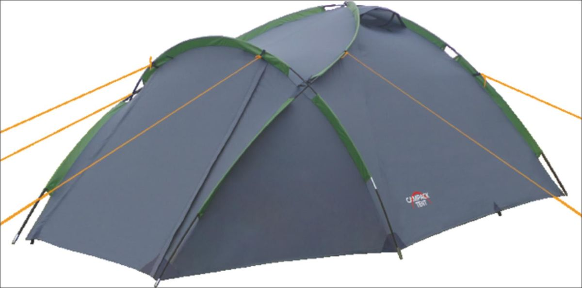 Палатка Campack Tent Land Explorer 3, цвет: серо-зеленыйKOC-H19-LEDУниверсальная купольная палатка с повышенной ветроустойчивостью Campack Tent Land Explorer 3.Высокопрочное дно изготовлено из армированного полиэтилена, не пропускаетвлагу и устойчиво к истиранию.Качественный каркас изготовлен из фибергласса и обеспечивает надежностьи устойчивость.Палатка оснащена двухслойным входом с цветными молниями.Внутри палатки имеется подвеска для фонаря и карманы для хранения мелочей.Проклеенные швы гарантируют герметичность и надежность в любой ситуации.Материал тента: 190T P. Taffeta PU;Материал дна: Tarpauling;Материал дуг: фибергласс, 7,9 мм и 9,5 мм.в комплект входят 6 штормовых оттяжек.