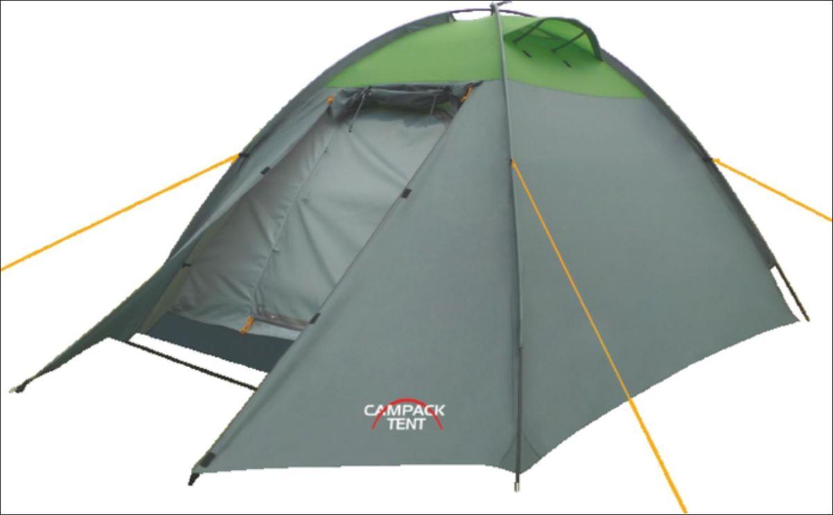 Палатка Campack Tent Rock Explorer 3, цвет: серо-зеленый67744Универсальная купольная палатка Campack Tent Rock Explorer 3 с внешним каркасом для несложных походови семейного отдыха на природе. Высокопрочное дно изготовлено из армированного полиэтилена, не пропускаетвлагу и устойчиво к истиранию. Каркас, изготовленный из фибергласса, обеспечивает надежность и устойчивость.Палатка оснащена увеличенными вентиляционными окнами, клапаном от косогодождя и двухслойным входом с цветными молниями.Внешний каркас позволяет быстро установить палатку в сложных погодных условиях.Внутри палатки имеется подвеска для фонаря и карманы для хранения мелочей.Проклеенные швы гарантируют герметичность и надежность в любой ситуации.Материал тента: 190T P. Taffeta PU;Материал дна: Tarpauling;Материал дуг: фибергласс, 7,9 мм.