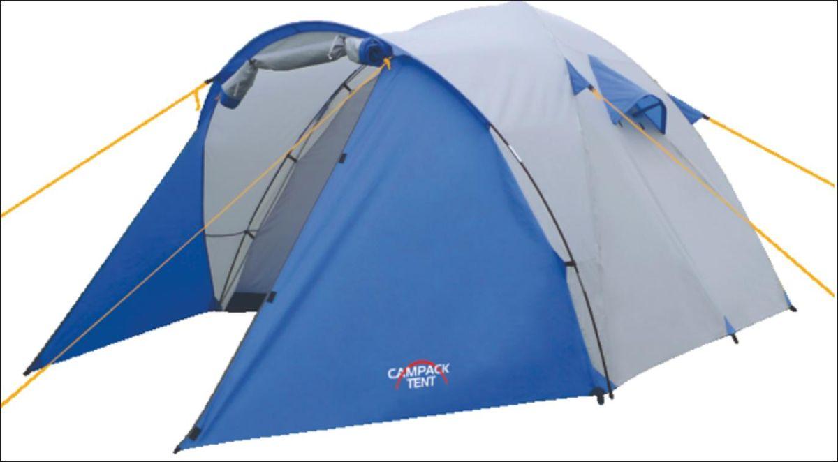 Палатка Campack Tent Storm Explorer 3, цвет: серо-синийKOCAc6009LEDStorm Explorer 2 (3, 4) Универсальная палатка для несложных походов и семейного отдыха на природе Конструкция позволяет использовать ее как ранней весной, так и во время осенних выездов, когда погода меняется каждую минуту. Модель Storm имеет два раздельных входа. Основной вход надежно защищен боковыми тентовыми «крыльями», которые предотвращают задувание холодного воздуха, при сильных порывах ветра. • Высокопрочное дно изготовлено из армированного полиэтилена, не пропускает влагу и устойчиво к истиранию. • Каркас, изготовленный из фибергласса, обеспечивает надежность и устойчивость. • Палатка оснащена увеличенными вентиляционными окнами, клапаном от косого дождя и двухслойным входом с цветными молниями. • Внешнее крепление третьей дуги, значительно облегчает установку палатки. • Внутри палатки имеется подвеска для фонаря и карманы для хранения мелочей. • Проклеенные швы гарантируют герметичность и надежность в любой ситуации. цвет: синий/серый, состав: 100% полиэстер , упаковка: чехол, сезон: весна\лето\осень