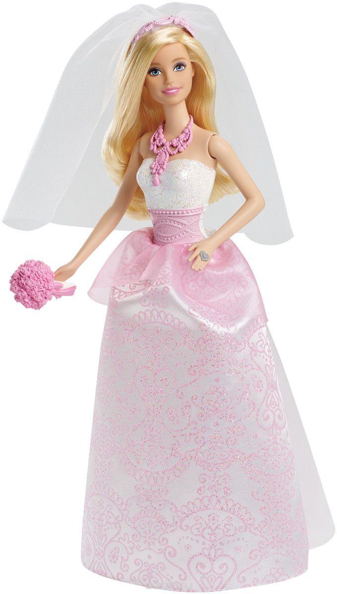 С этой красивой куклой-невестой девочки смогут разыгрывать шикарную сказочную свадьбу! Она одета в чудесное платье и готова покорить сердца всех и каждого, а не только ее жениха-принца (продается отдельно)! Ваше внимание привлекут красивые кружева и нотки розового в аксессуарах невесты. Кукла не может стоять самостоятельно.