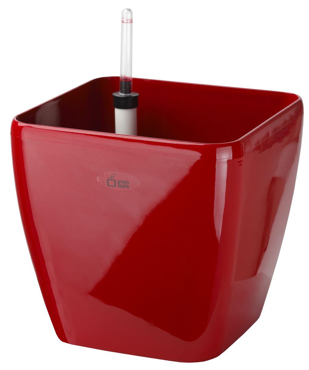 Горшок Green Apple, с системой автополива, цвет: красный, 22 х 22 х 20,5 см790009Квадратный горшок Green Apple, выполненный из полипропилена (пластика), имеет уникальную систему автополива, благодаря которой корневая система растения непрерывно снабжается влагой из резервуара. Уровень воды в резервуаре контролируется с помощью специального индикатора. В зависимости от размера кашпо и растения воды хватает на 2-12 недель. Длина индикатора уровня воды: 22,5 см.